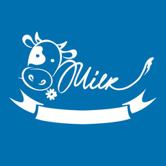 Logotype for dairy and milk product / Vector illustrations with funny cow, trademark, sign