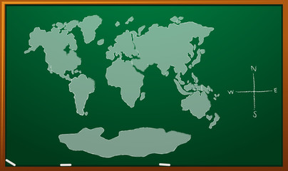 Worldmap on green board