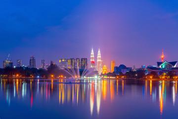 Night view of Kuala Lumpur city skyline
