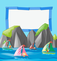 Frame template with kids on boats
