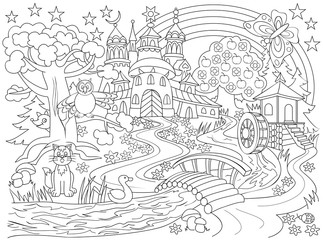 Black and white drawing of fairyland country. Illustration of medieval castle in the magic forest for coloring. Worksheet for children. Vector image.