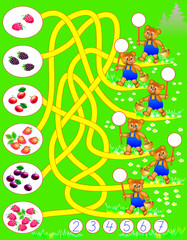 Logic exercise for young children. Need to count how many berries each bear has found and write the corresponding numbers in circles. Vector cartoon image.