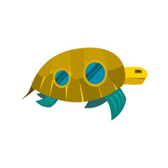 Sea turtle toy with windows icon isolated on a white background