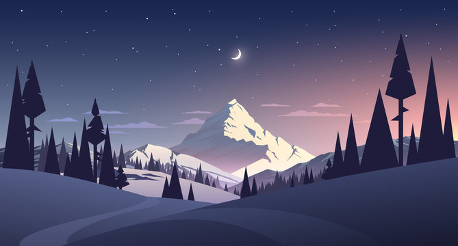 night landscape with mountain and moon