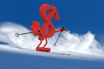 dollar sign with arms and legs that is skiing