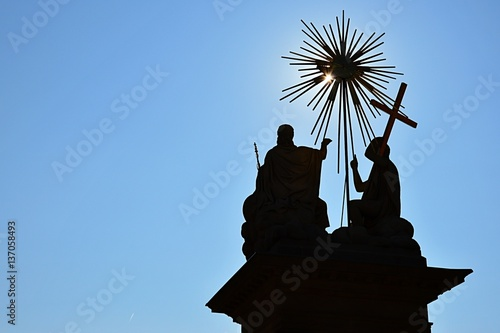 Silhouette of God the Father, Jesus Christ and Holy Spirit on The