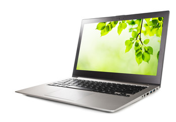 Modern laptop computer with green leaves wallpaper, isolated on