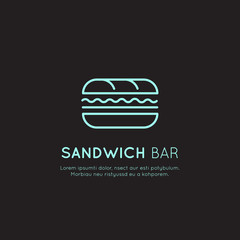 Vector Icon Style Illustration Card Neon Acid Logo of Fast Food Shop, Urban Place, Burrito, Burger, Sandwich or Hot Dog Bar, Simple Isolated Symbols for Web and Mobile App