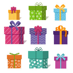 Wall Mural - Gifts or presents boxes icons for valentine xmas design vector illustration