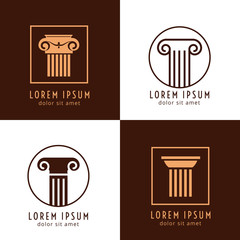Wall Mural - Business corporate identity with columns. Ancient column logo vector set