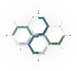 Wall Mural - Vector molecule with 3D paper, integrated Hexagon background. Blank space for content, business, infographic, diagram, flowchart, timeline, process. Social network connection technology concept