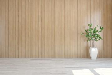 White empty room with flower. Scandinavian interior design