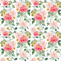 Seamless pattern with abstract flowers in bouquets and foliage.