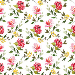 Seamless pattern with abstract summer flowers and branches with leaves.