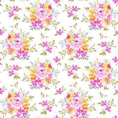 Seamless pattern with summer flowers in a bouquet and leaves, floral ornament.