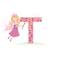 T letter with a cute fairy tale