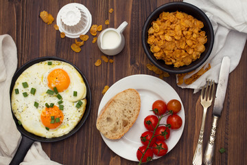 breakfast on brown wooden background