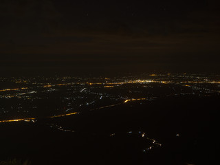 Light of city before sunrise, shooting on the mountain