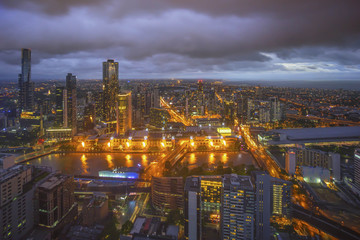An aerial view of Melbourne cityscape including Yarra River and