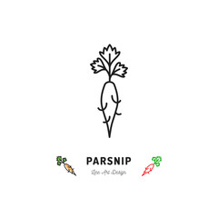 Parsnip icon Vegetables logo. Thin line art design, Vector outline illustration