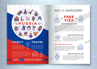 Russian travel brochure template. Colorful russian icons on a flag background. Traditional line symbols - doll matryoshka, samovar, balalaika, vodka and food, bear, USSR and etc. Vector illustration