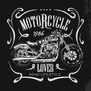 Vintage Motorcycle hand drawn vector t-shirt