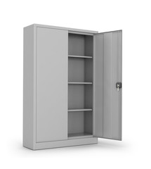 Metal cabinet for documents on a white background. 3d illustrati
