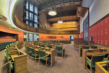 City Council Chamber in Oslo City Hall, Norway. This is an open political arena where the public...