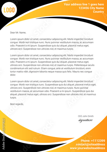 Yellow and black letterhead template stock image and royalty free yellow and black letterhead template spiritdancerdesigns Gallery