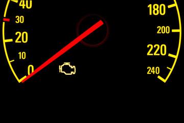 Check engine yellow light on car dashboard