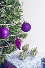 purple Christmas toy on a blurred background
