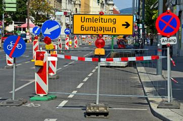 Umleitung, Baustelle, Straße