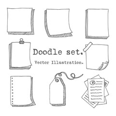 Hand drawn vector set of paper sheet, pack of paper, tag, sticky note, notepad page with pin, scotch tape and paperclip. Doodle style illustration paper sheets for messages. Collection of doodle icons