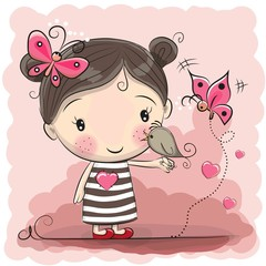 Cute Cartoon Girl with bird