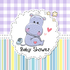 Baby Shower Greeting Card with Hippo