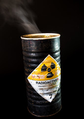 Smoke in cylinder container of radioactive material