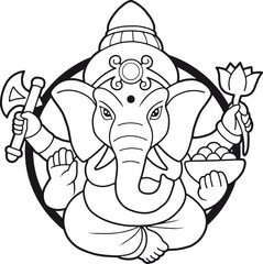 emblem depicting an Indian god Ganesha