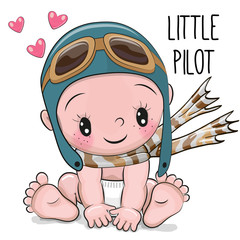 Cute Cartoon Baby boy in a pilot hat