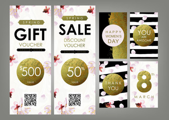 International Women's Day card, Gift certificate, Voucher, Coupon templates set. Shabby gold, black and white stripes, blossom plum and marble texture. The eighth of March decoration concept.