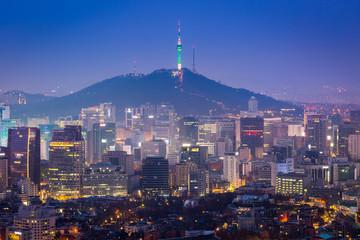 Seoul City Skyline and N Seoul Tower in Seoul, south Korea.