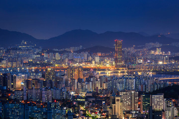 Skyscraper of Seoul city skyline at night, South Korea
