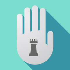 Long shadow hand with a  rook   chess figure