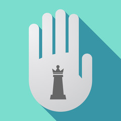 Long shadow hand with a  queen   chess figure