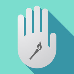 Long shadow hand with  a torch icon