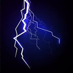 Vector lightning - isolated on blue background, luminous light effects