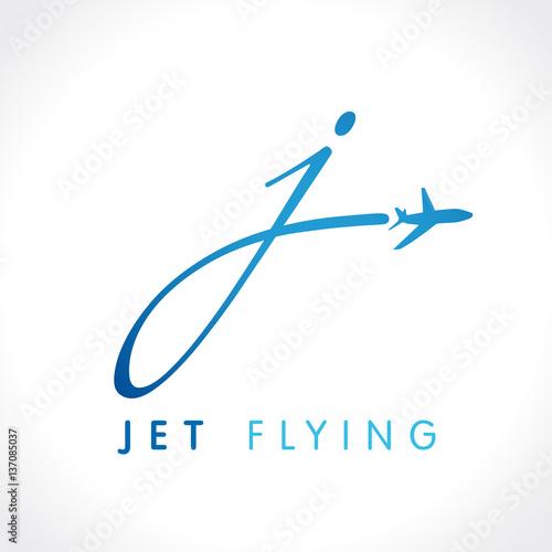 """J letter jet travel company logo. Airline business travel ..."