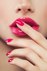 Makeup Pink Lip Gloss and Manicure Nails, Face Closeup