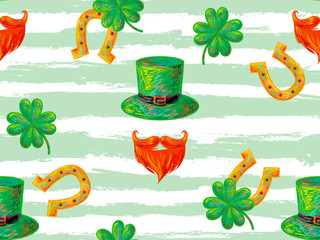 Irish St. Patrick's Day party seamless pattern with leprechaun with symbolic green hat and bushy red beard, green clover leaf and horseshoe. Holiday texture. Celebration design