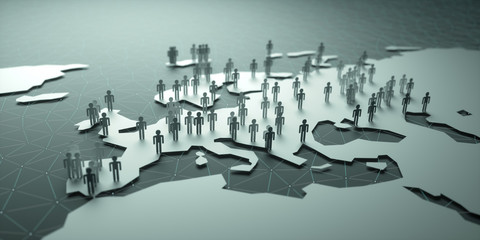 Europe Population. 3D illustration of people on the map, representing the country's demography.
