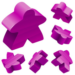 Vector set of standard wooden meeples for board games. Purple gaming pieces isolated on white background. Boardgames symbol for advertisement, community icons or geek print